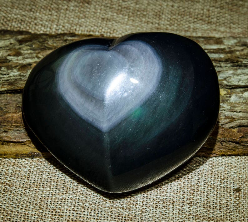 AAAAA Hand Carved Heart Shaped Rainbow Sheen Obsidian,Pendant,Valentines Gift,Valentines idea for Her,Kid Valentines ideas,Gift,#3171
