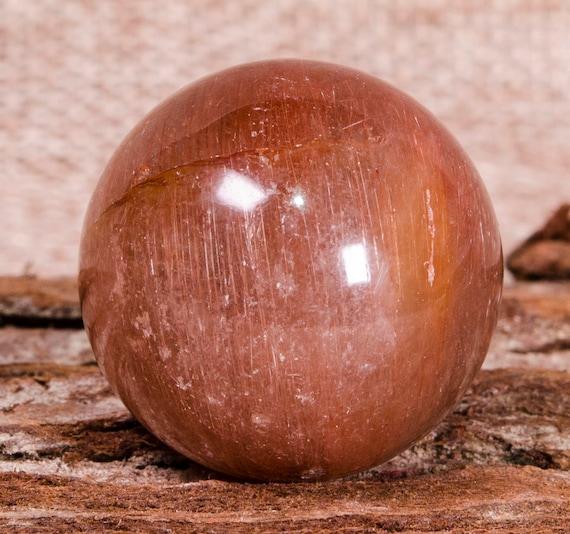 Sphère de cristal rutile rouge, perles de cuivre Quartz Quartz Quartz rutile, perle de cristal rutile, Chakra Stone, bijou Pierre boule, Reiki, Chakra, cadeau pour elle 29f037