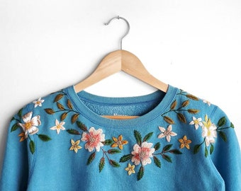 Upcycled hand embroidered sweatshirt - small