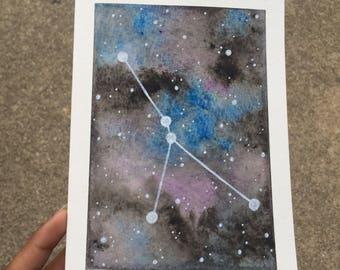 Original Watercolor Galaxy Zodiac Cancer Constellation Frameable Birthday Greeting Card