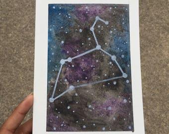 Original Watercolor Galaxy Zodiac Leo Constellation Frameable Birthday Greeting Card