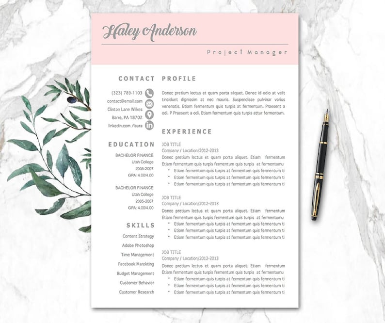 Modern CV Template Word | cv templates mac pc | cv-malli Creative CV | 1-3  Pages resume template, cv examples, Cover Letter, References