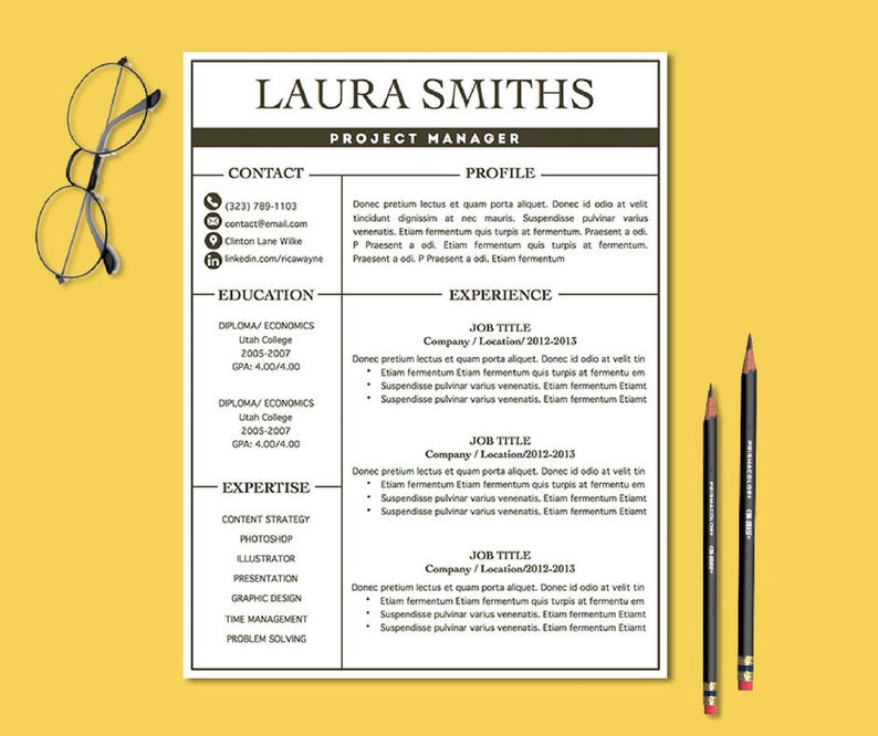 Modern CV Template Resume MAC PC Professional