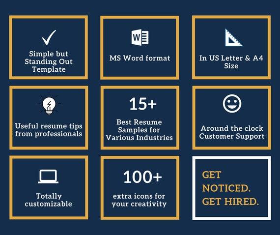 Modern Resume Template | CV Templates CV-malli | Professional Resume |  Modern CV Minimalist Resume Design | Reference Cover Letter MSWord