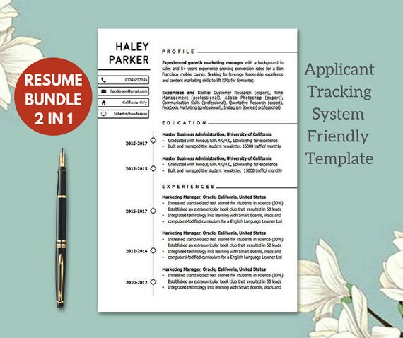 modern ats friendly resume templates resume template etsy