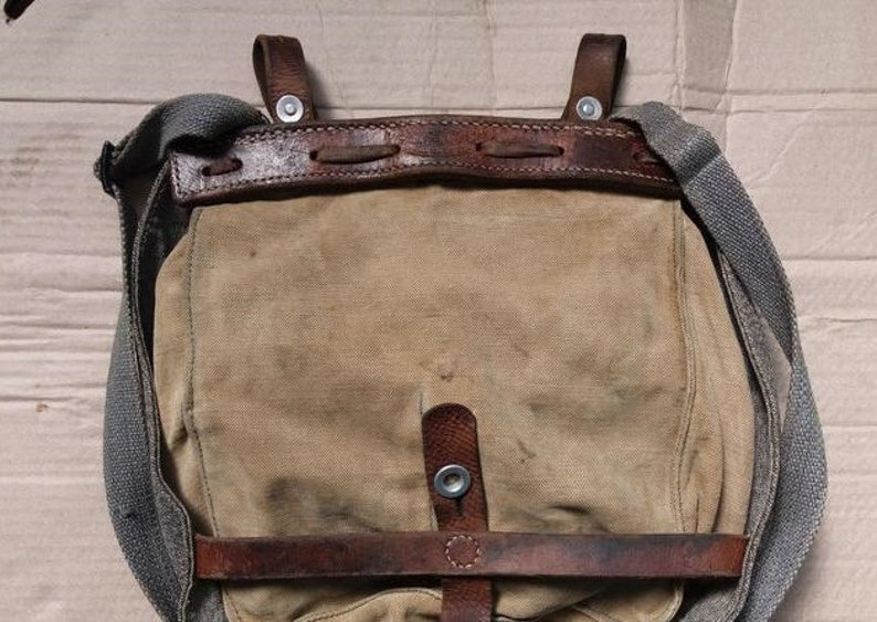 371cae95a8 Vintage Swiss Military Bag Salt and Pepper Bushcraft Hiking