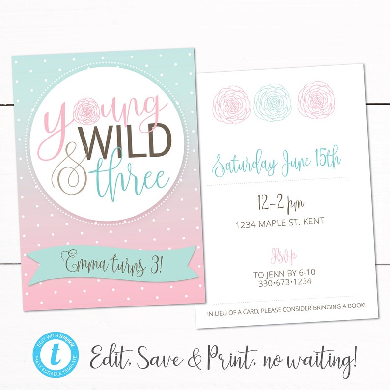 Young Wild And Three Girl Birthday Party Invitation 3rd
