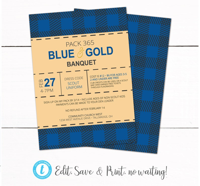 Cub Scouts Blue and Gold Banquet Invitation - Buffalo Plaid Blue Gold  Invitation - Cub Scouts Winter Campout Go See It Invitation