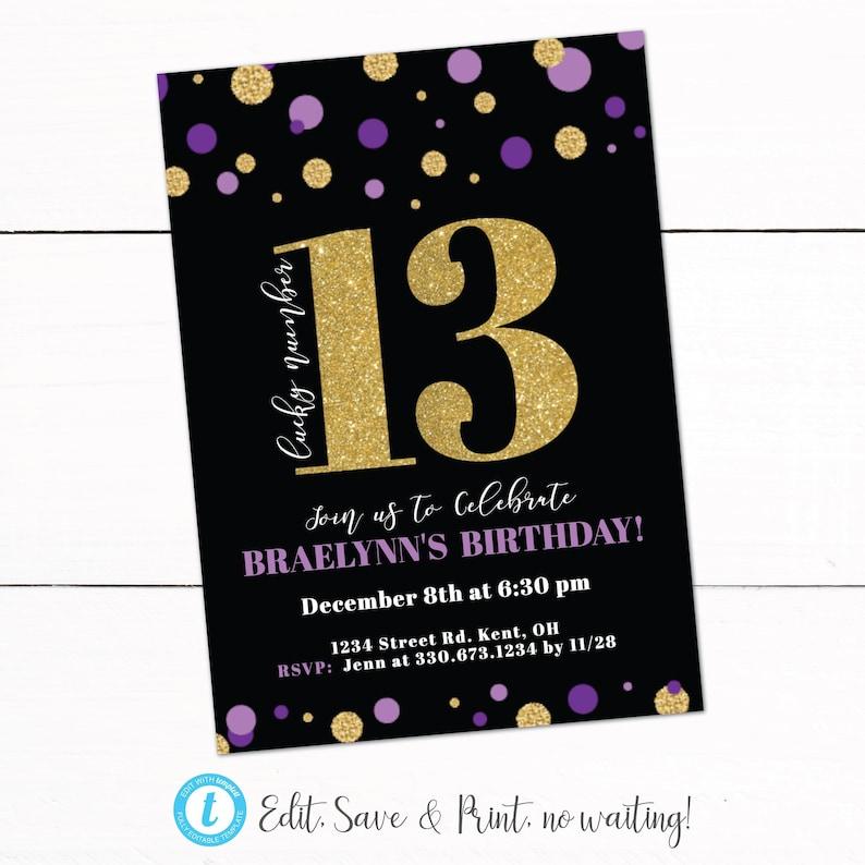 Girls Thirteen 13th Birthday Party Invitation Teenage Girl