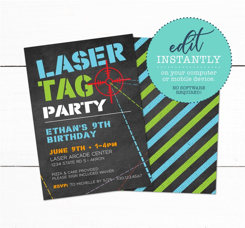 Laser Tag Birthday Party Invitation DIY