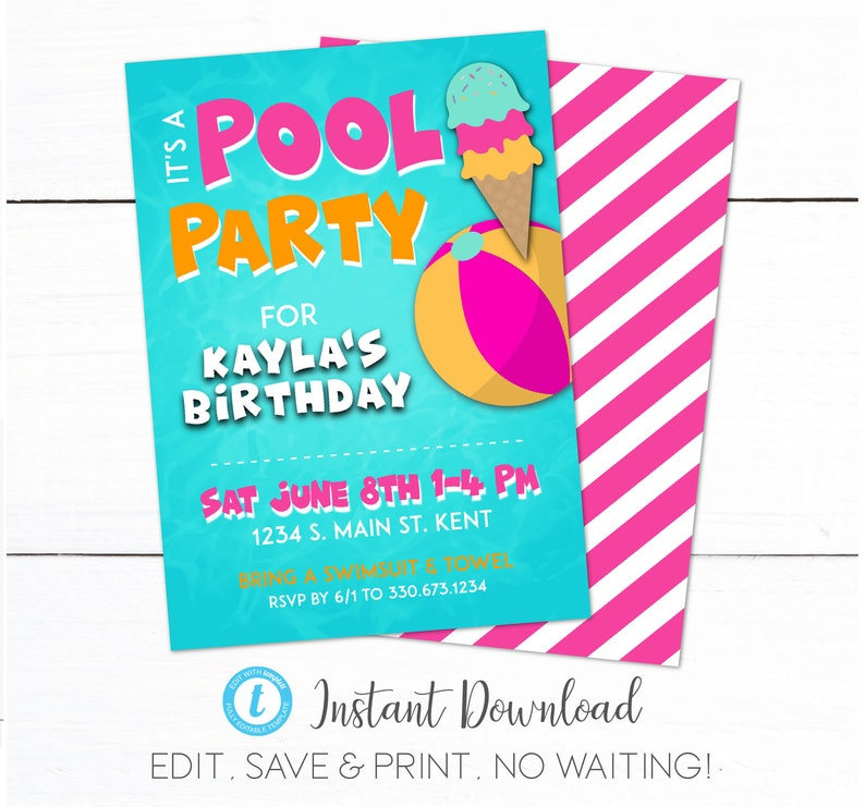 Girls Swim Pool Birthday Party Invitation Kids Swimming