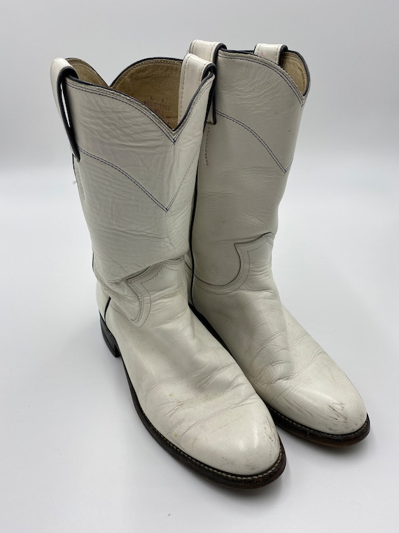 Vintage White Justin Cowboy Boots 5 1/2 B, Small