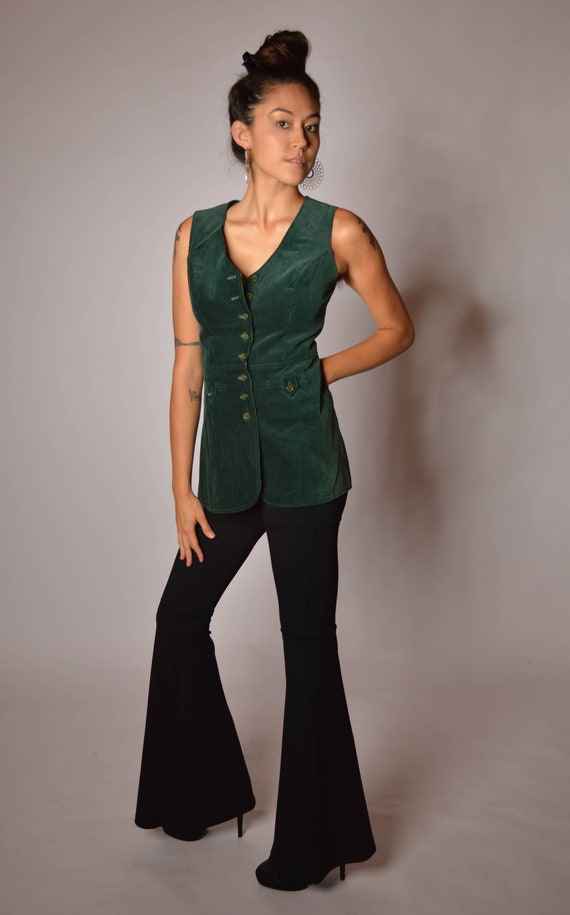 70's Green Corduroy Fitted Long Vest with Buttons