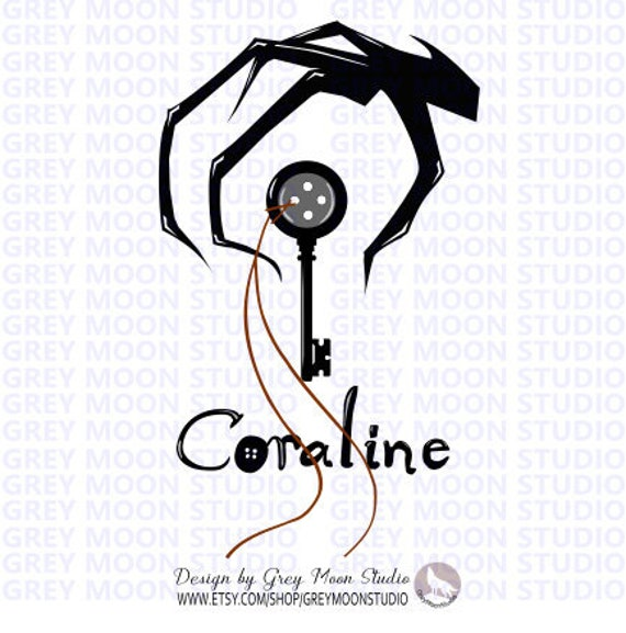 Coraline Drawing Svg Halloween Scary Art Buttons Key Etsy