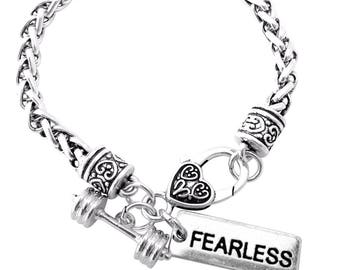 Crossfit Training Fitness Dumbbell Inspirational Silver Heart Bracelet FEARLESS