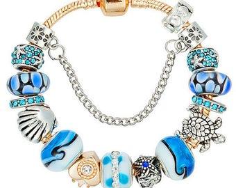 "Sea Scallop Shell Turtle Starfish European Bead Charm Gold 7.5"" Bracelet 19cm Style 4"