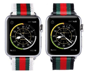 7e7e01f923f Designer Inspired Gucci Red Green Stripe Pattern Apple Watch Band  Replacement Strap 38mm 40mm 42mm 44mm Series 1 2 3 4