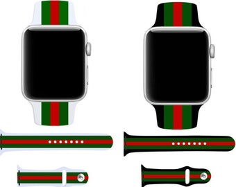 1958ee20433 Designer Inspired Gucci Pattern Silicone Apple Watch Band Replacement Strap  38mm 40mm 42mm 44mm Series 1 2 3 4