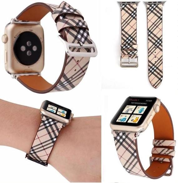 Designer Burberry Plaid Pattern Apple Watch Band