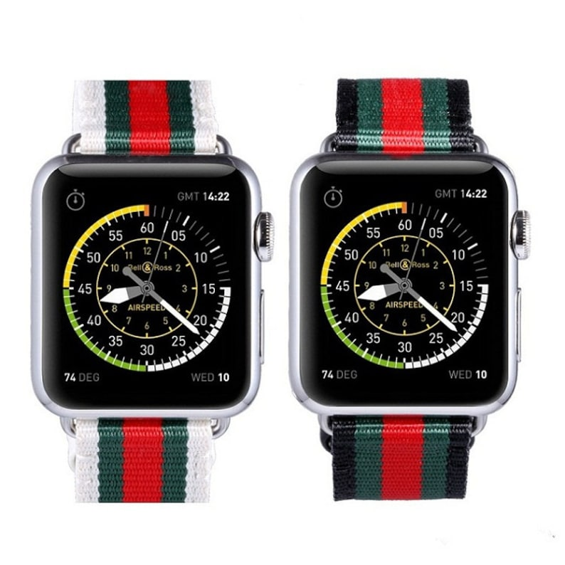 c8399fc2956 Designer Inspired Gucci Red Green Stripe Pattern Apple Watch