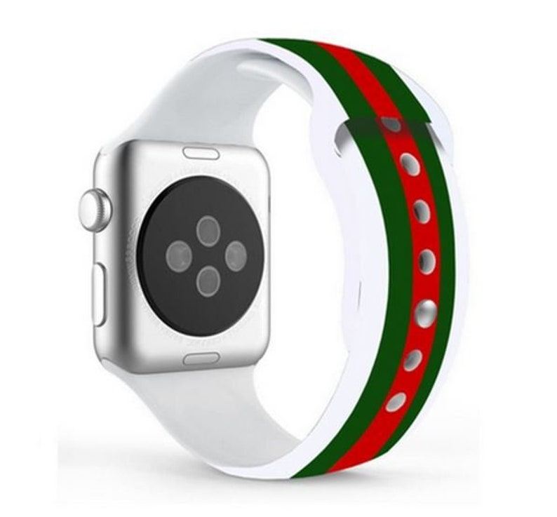 e012fd4ef48 Designer Inspired Gucci Pattern Silicone Apple Watch Band