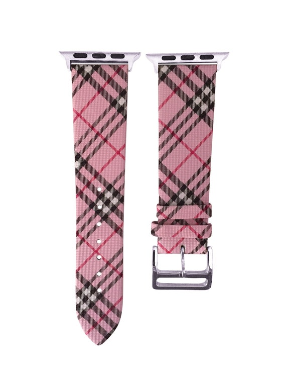 Pink Burberry Plaid Pattern Apple Watch Band Replacement
