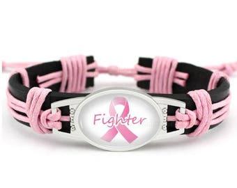 "Pink Ribbon Breast Cancer Awareness Black Leather Cord 7.5"" - 8.5"" Bracelet"