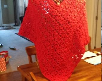 Puff Stitch Crocheted Poncho