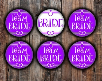 Purple Bride and Team Bride pins, 2.25 inch, for bachelorette, shower, wedding