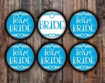 Blue Bride and Team Bride pins, 2.25 inch, for bachelorette, shower, wedding