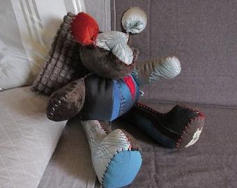 """Bear plush velvet & fabric Brown/Blue """"CHARMER"""""""