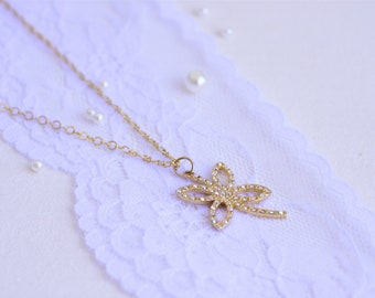 Long necklace for women, Long gold necklace, Dragonfly necklace, Long pendant necklace, Gold pendant necklace for women, Swarovski necklace