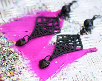 Long dangle earrings, Onyx jewelry, Black onyx earrings, Black jewelry for women, Black earrings for women, Swarovski black jewelry