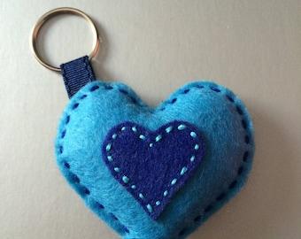 Sky blue and dark blue heart keychain