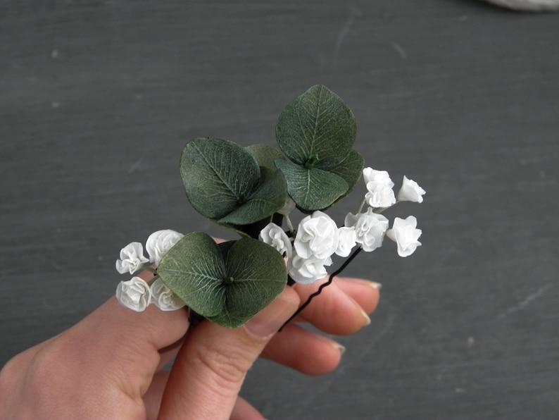 Bridal greenery hair pins  Wedding floral hair piece  Baby breath hair clip  Eucalyptus bobby pins