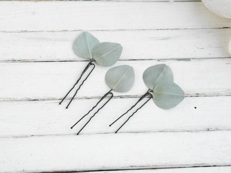 Eucalyptus hair clip bride  Wedding floral hair pins  Greenery hair piece