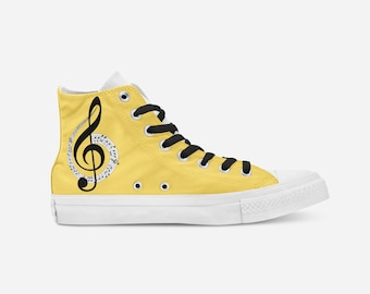 c27d7fcff958 High-Top Music Note Printed Converse Shoe~High Top Sneakers~Tennis  Shoes~Custom High-Tops~Street Shoes~Lace-up~Graphic Design~Music Lovers