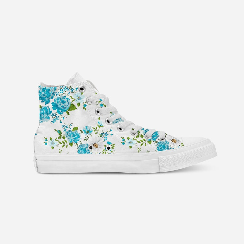 10f740ae40218 Floral Designed Shoes,Floral Converse,Personalized Chucks,Customized  Shoes,Flowers On Shoes,Blue Shoes,Floral Custom Print,Gift For Her