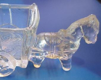 Vintage Clear Glass Candy Container, Horse and Wagon