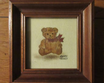 Sandy Honan Theorem Painting Teddy Bear, signed and framed