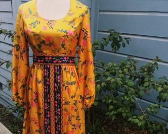 Vintage 1970s H|B Juniors Dress, vintage dress, 1970s fashion, vintage clothing, yellow dress, floral dress, 70s dress, juniors dress, retro