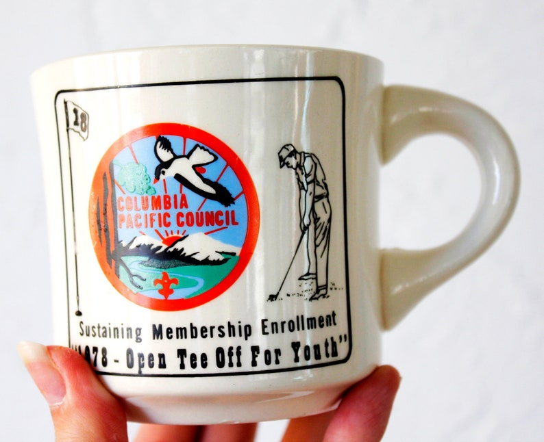 1970s Columbia Pacific Council Golf Boy Scout Mug, Vintage mug, boy scout,  cub scout, swim, boyscout, eagle scout, 1970s, 70s mug, retro