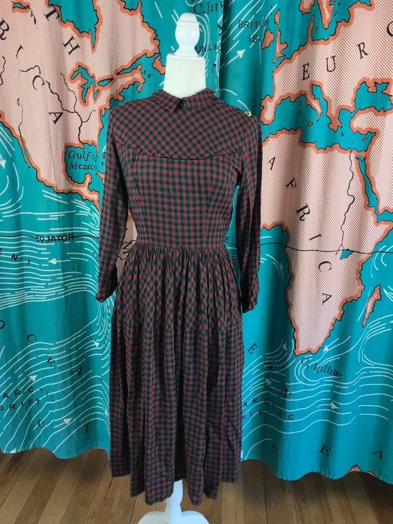 1940s Susan Reid Red & Green Plaid Dress, Old Fash
