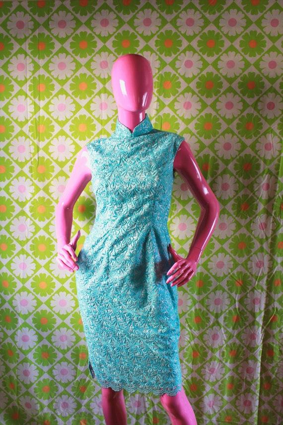 Vintage Dress Silk Mid Century Mad Men Mod Floral Paris Summer sz fits Medium Oversized 1960s