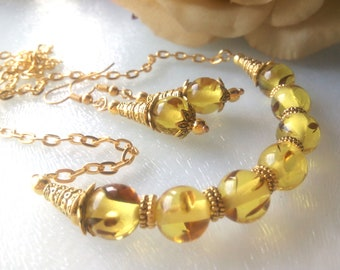 0090517849 Yellow Synthetic Amber Jewelry Set, Yellow Gold Jewelry Set, Yellow Amber  Earrings, Yellow Amber Necklace, Yellow Jewelry