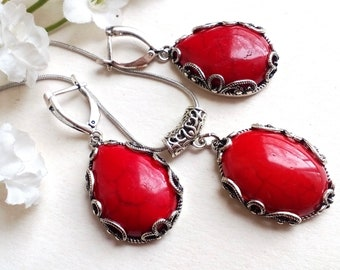 Coral Earrings  Red Coral Earrings  Natural Rectangle Setting  Coral Jewelry