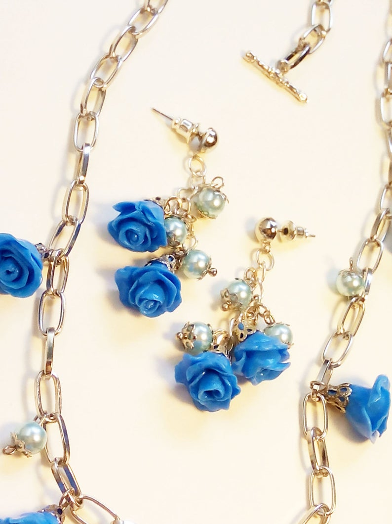 Blue Rose Jewelry Set Blue Flower Necklace Blue Gift Pearl Gift Set Blue Rose Polymer Clay Blue Rose Earrings Blue Necklace
