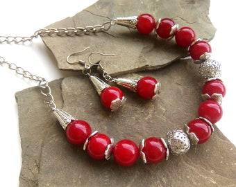 Red Аmber Jewelry Set, Аmber Jewelry, Red Earrings, Red Necklace, Аmber Earrings, Аmber Necklace, Red Jewelry, Аmber, Red Gift For Woman
