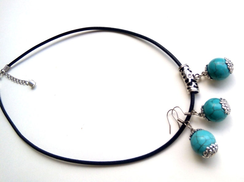 Turquoise Necklace Blue Jewelry Turquoise Jewelry Set Turquoise Jewelry Turquoise Earrings Blue Stone Gift For Woman