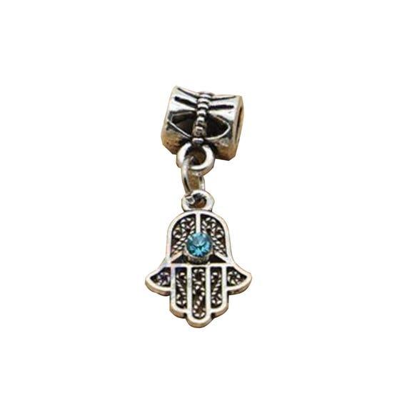 Main de Fatima charmes Hamza mauvais œil Palm strass bleu Breloque Pendentif amulette porte bonheur pour faire cadeau Bracelet Bracelet Bijoux